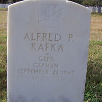 One of the graves at the Fort Sam Houston National Cemetery that bears a swastika. (Michael Field/Wikimedia Commons via JTA)