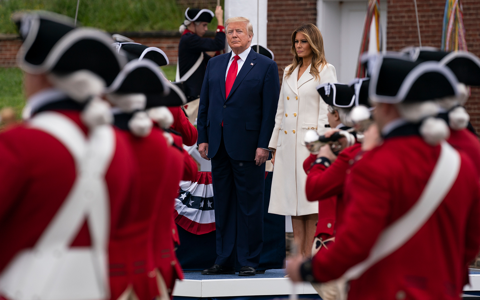 US President Donald Trump and first lady Melania Trump at a Memorial Day ceremony at Fort McHenry National Monument and Historic Shrine, in Baltimore, Maryland, May 25, 2020. (AP/Evan Vucci)