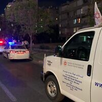 ILLUSTRATIVE — A Magen David Adom ambulance arrives at the scene of a murder in Bat Yam on May 3, 2020. (MDA)