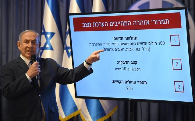 Standing in front of a chart specifying circumstances in which Israel might have to reimpose restrictions if COVID-19 flares again, Prime Minister Benjamin Netanyahu announces the easing of many lockdown restrictions, at a press conference in Jerusalem on May 4, 2020 (GPO)