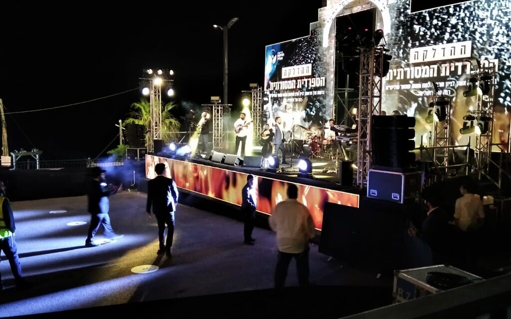 The Lag B'Omer bonfire held by Sephardi Haredi rabbis at Mount Meron, Israel, on May 11, 2020 (Nathan Jeffay/Times of Israel)