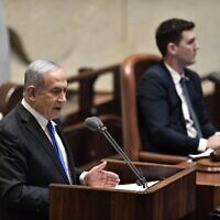 Prime Minister Benjamin Netanyahu presenting the 35th government of Israel to the Knesset, May 17, 2020. (Knesset/Kobi Gideon)