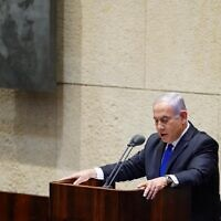 Prime Minsiter Benjamin Netanyahu addressing the Knesset, May 17, 2020. (Knesset/Adina Veldman)