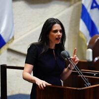 Yamina MK Ayelet Shaked at the Knesset as the 35th government of Israel is presented on May 17, 2020. (Knesset/Adina Veldman)