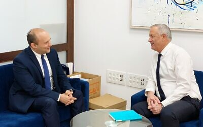 Yamina chairman Naftali Bennett (L) and Blue and White chairman Benny Gantz meet in the Knesset on May 17, 2020. (Courtesy)