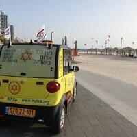 A Magen David Adom ambulance in Tel Aviv, on May 17, 2020. (Magen David Adom)