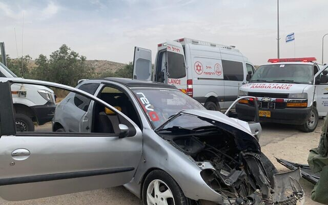 The scene of a suspected car-ramming attack in the southern West Bank on May 14, 2020. (Israel Defense Forces)