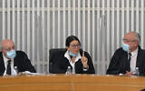 From left to right: Justice Hanan Melcer, Chief Justice Esther Hayut and Justice Neal Hendel at the High Court of Justice on May 4, 2020. (Screenshot)