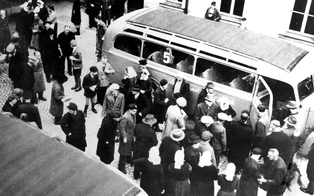 In Bruckberg, Germany, victims of the Nazis' 'T4' euthanasia program are transported to killing centers (public domain)