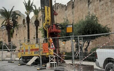 Experimental drilling for a railway station at Jerusalem's Old City, May 9, 2020. (Emek Shaveh)