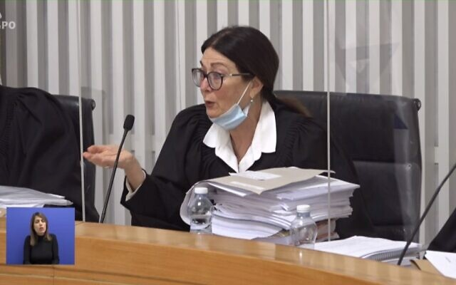 Supreme Court Chief Justice Esther Hayut speaks during High Court of Justice deliberations on petitions against Benjamin Netanyahu being appointed prime minister, on May 3, 2020. (Screen capture)