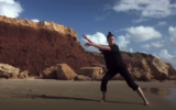 Imre van Opstal, a Batsheva dancer, in a video recorded along with her siblings who are also dancers, each in a spot in nature, as part of the Batsheva Creates Online Festival (Courtesy Imre van Opstal)