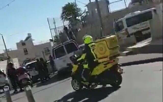 The scene of a suspected stabbing attempt in Jerusalem on May 25, 2020. (screen capture: Twitter)
