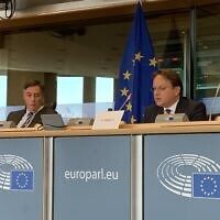 Olivér Várhelyi, the Commissioner for Neighbourhood and Enlargement, during a meeting of the European Parliament's Foreign Affairs Committee, May 2020 (Twitter)