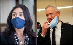 (L) Transportation Minister Miri Regev at the Jerusalem District Court in support of Prime Minister Benjamin Netanyahu on  May 24, 2020. (Yonatan Sindel/Flash90). Defense Minister Benny Gantz at the Knesset on May 17, 2020. (Alex Kolomoisky/POOL)