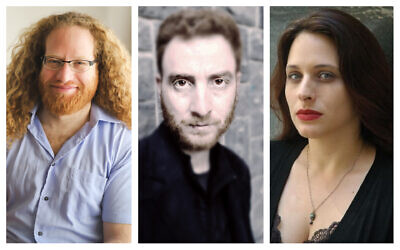 From left: Israeli poets Yonatan Berg, Shimon Adaf, and Hagit Grossman. (Micol Levi Yaron, Courtesy Wesleyan University Press; Ronen Lalena; Dina Gona)