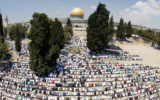 Muslims pray at the Temple Mount during Ramadan (courtesy, Atta Awisat)