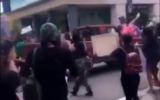Screenshot from a a video showing a pickup truck driving through a crowd of protesters on May 30, 2020 in Tallahhassee, Florida