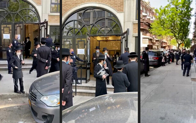 Police disperse a crowd at a synagogue in Brooklyn, New York, on May 20, 2020. (Screenshots from WhatsApp video)