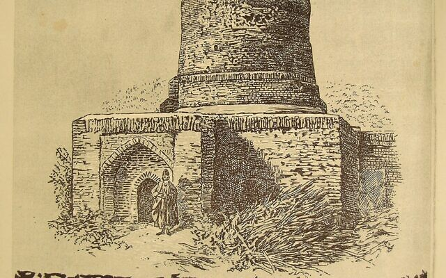 "Drawing of the tomb of Mordechai and Esther in Hamadan, Iran. The inscription ""Tomb of Mordechai the Righteous and Queen Esther (May Their Merit Protect Us)"" is written in the shape of an arch across the top of the picture. Beneath the depiction of the tomb the inscription, ""This is the top of the grave that the modest Mr. Avushalam, son of Ohad the doctor z""l, ordered to be built in the year 5618,"" is printed and then written more clearly below. The illustration of the tomb depicts a brick structure with a dome on top, and a man dressed in traditional Persian clothing is standing in front of the doorway. (The National Library of Israel)"