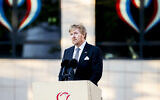 King Willem-Alexander of The Netherlands speeches during the National Remembrance Day ceremony on May 4, 2020 in Amsterdam, Netherlands. (Patrick van Katwijk/BSR Agency/Getty Images)