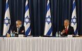 Prime Minister Benjamin Netanyahu (right) and Defense Minister Benny Gantz at the weekly cabinet meeting in Jerusalem on June 7, 2020. (Menahem KAHANA / AFP)