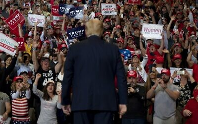 US President Donald Trump arrives to deliver remarks at a rally in Las Vegas, Nevada on February 21, 2020 (JIM WATSON / AFP)