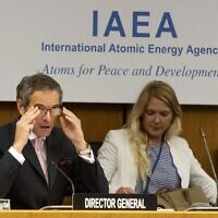 Rafael Grossi, (left) Director General of the International Atomic Energy Agency (IAEA), opens a virtual meeting of the Board of Governors of the IAEA in Vienna, Austria on June 15, 2020 (JOE KLAMAR / AFP)