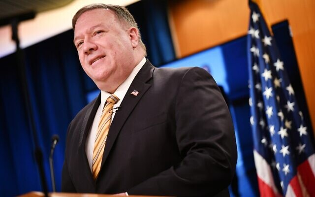US Secretary of State Mike Pompeo during a press conference at the State Department in Washington, DC on June 24, 2020. (Mandel Ngan/Pool/AFP)