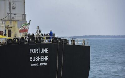 The Iranian-flagged oil tanker Fortune docked at the El Palito refinery after arriving at Puerto Cabello in the northern state of Carabobo, Venezuela on May 25, 2020. (AFP)