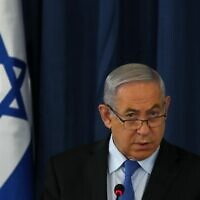 Prime Minister Benjamin Netanyahu chairs the weekly cabinet meeting in Jerusalem on June 28, 2020. (RONEN ZVULUN / POOL / AFP)