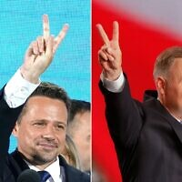 This combination of pictures created on June 28, 2020 shows Polish President Andrzej Duda (R) after addressing supporters as exit poll results were announced during the presidential election in Lowicz, Poland, on June 28, 2020 and rival candidate in Poland's presidential election, Warsaw Mayor Rafal Trzaskowski (Wojtek RADWANSKI and JANEK SKARZYNSKI / AFP)