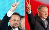 This combination of pictures shows Polish President Andrzej Duda (R) flashing V-signs after addressing supporters as exit poll results were announced during the presidential election in Lowicz, Poland, on June 28, 2020 and Warsaw Mayor Rafal Trzaskowski, a candidate, flashing V-signs to supporters as exit poll results were announced during the presidential election in Warsaw, Poland, on June 28, 2020. (Photos by Wojtek RADWANSKI and JANEK SKARZYNSKI / AFP)