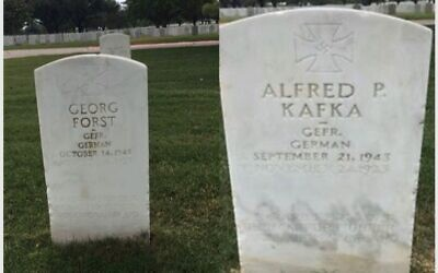 Two undated photos of POW headstones inscribed with swastikas at the Fort Sam Houston National Cemetery in San Antonio, Texas. (Courtesy of the Military Religious Freedom Foundation via JTA)