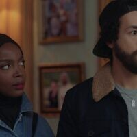 Ramy Hassan (played by Ramy Youssef) and Zainab (played by MaameYaa Boafo) in a scene from the second season of the Hulu show 'Ramy.' (A24/ via JTA)