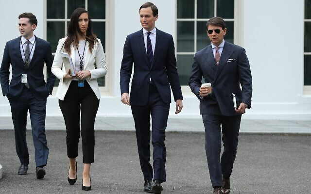 Assistant to the President and Special Representative for International Negotiations Avi Berkowitz, Special Assistant to the President Alexa Henning, Senior Adviser to President Donald Trump and son-in-law Jared Kushner, and White House Deputy Press Secretary Hogan Gidley walk out of the White House, May 8, 2020. (Chip Somodevilla/Getty Images, via JTA)