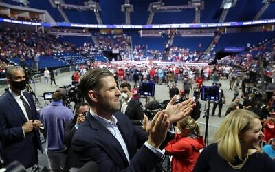 Eric Trump does an interview during a campaign rally for his father US President Donald Trump at the BOK Center, June 20, 2020 in Tulsa, Oklahoma. (Win McNamee/Getty Images/AFP)