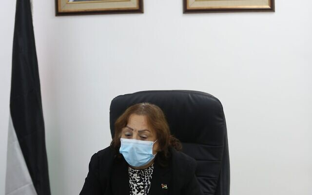 Palestinian Authority Health Minister Mai al-Kaila announces a surge in cases in Hebron on June 17, 2020. (Courtesy: Wafa)