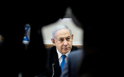 Prime Minister Benjamin Netanyahu leads the weekly cabinet meeting, at the Prime Minister's Office in Jerusalem, on December 1, 2019. (Marc Israel Sellem/ POOL via JTA)