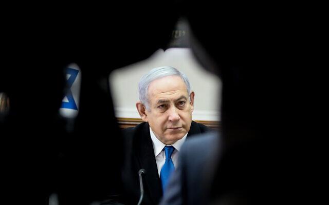 Prime Minister Benjamin Netanyahu leads the weekly cabinet meeting, at the Prime Minister's Office in Jerusalem, on December 1, 2019. (Marc Israel Sellem/Pool via JTA)