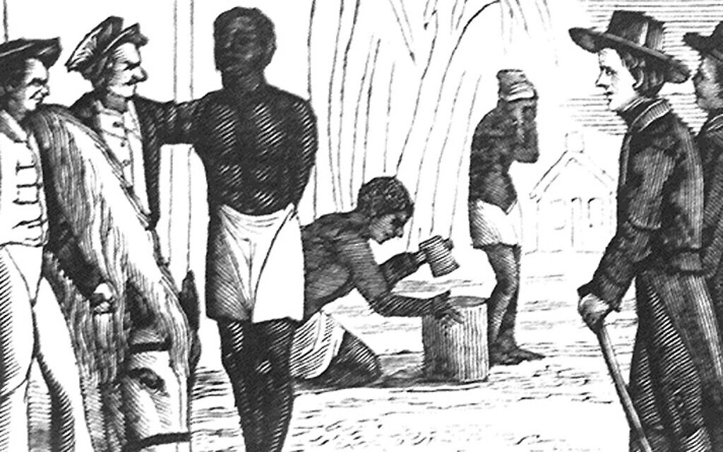 19th-century depiction of the slave ship 'Desire' arriving in Boston (public domain)