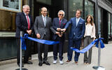 Robert Kraft, center, along with members of his family, celebrates the grand opening of the Kraft Family Building at the Combined Jewish Philanthropies of Greater Boston, April 27, 2018. (Combined Jewish Philanthropies of Greater Boston)