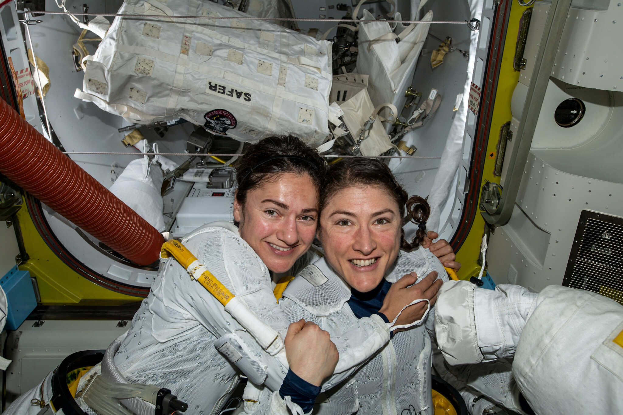 NASA astronauts Jessica Meir (left) and Christina Koch on the International Space Station after completing the first all-female space walk on October 18, 2019. (NASA)