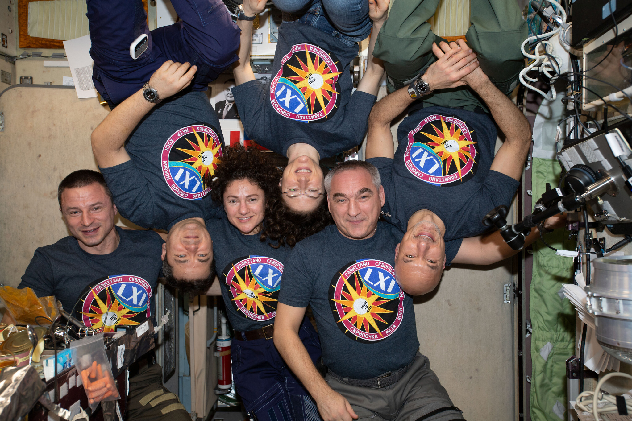 NASA astronaut Jessica Meir (third from left) with crew mates on the International Space Station. (NASA)