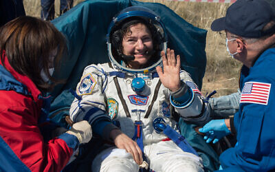 NASA astronaut Jessica Meir outside the Soyuz MS-15 spacecraft after she lands with NASA astronaut Andrew Morgan and Roscosmos cosmonaut Oleg Skripochka in a remote area near the town of Zhezkazgan, Kazakhstan on Friday, April 17, 2020.(NASA/GCTC/Andrey Shelepin)