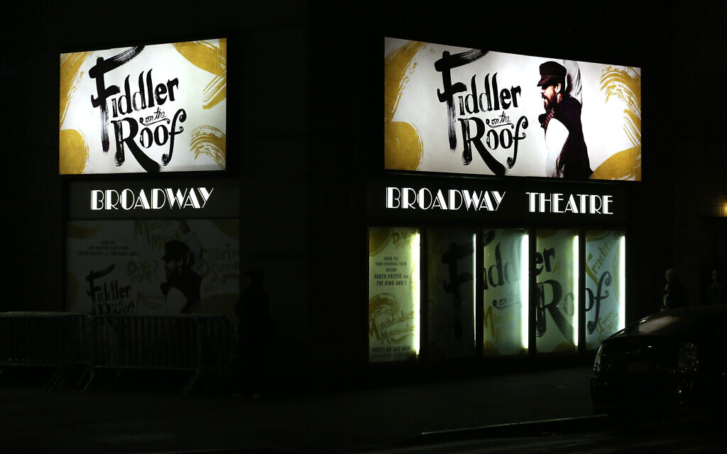 Theater Marquee for the Broadway Opening Night Performance of 'Fiddler On The Roof' starring Danny Burstein at the Broadway Theatre on December 20, 2015, in New York City.  (Photo by Walter McBride/WireImage)