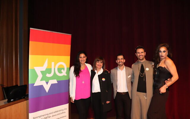 From left to right, Amanda Maddahi, Mahnaz Farzinpour, Arya Marvazy, Amir Yassai and Matthew Nouriel dressed up as drag persona 'The Empress' after speaking at a Persian Pride event at the West Hollywood City Council chambers, March 5, 2020. (Josefin Dolsten/ JTA)