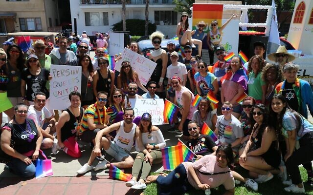 A delegation of Persian Jews and their friends march at the Los Angeles Pride Parade in 2019. (Anna Falzetta/ via JTA)