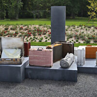 13 June 2020, Bavaria, Wurzburg: Stylized pieces of luggage stand at a memorial for deported Jews in front of the main station. The abandoned suitcases are intended to symbolize the loss and disappearance of Jews and their religious communities during the Nazi era. (Photo by Karl-Josef Hildenbrand/picture alliance via Getty Images via JTA)