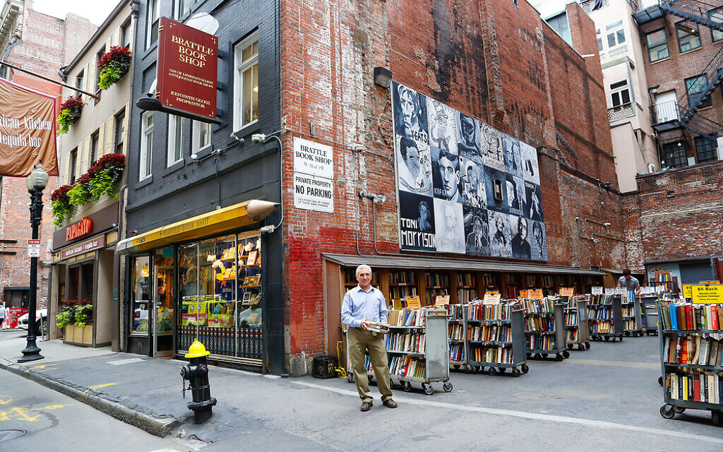 Ken Gloss outside the Brattle Book Shop, which is steps from Boston Common. (Courtesy of the Brattle Book Shop/ via JTA)